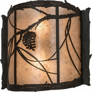 Meyda Tiffany 98413 Whispering Pines Rustic Timeless Bronze / Silver Mica Sconce Lighting