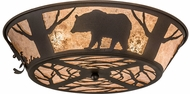 Meyda Tiffany 99037 Wildlife on the Loose Rustic Cafe Noir / Silver Mica Flush Mount Light Fixture