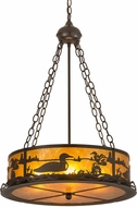 Meyda Tiffany 99133 Loon Rustic Timeless Bronze / Amber Mica Drum Hanging Lamp