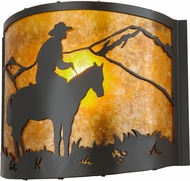 Meyda Tiffany 99773 Cowboy Rustic Timeless Bronze / Amber Mica Wall Sconce