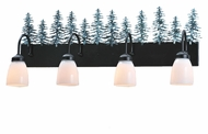 Meyda Tiffany 99786 Tall Pines Country Black Finish 34  Wide Four Light Bath Lighting Fixture