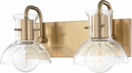 Mitzi H111302-AGB Riley Modern Aged Brass 2-Light Bathroom Lighting