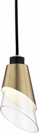 Mitzi H130701-AGB-BK Angie Contemporary Aged Brass / Black LED Mini Hanging Lamp