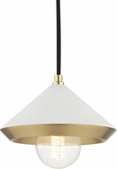Mitzi H139701S-AGB-WH Marnie Modern Aged Brass / White Mini Hanging Light Fixture