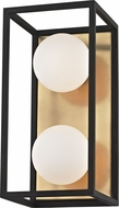 Mitzi H141302-AGB-BK Aira Contemporary Aged Brass / Black LED 2-Light Bath Lighting Fixture