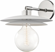 Mitzi H175101L-PN-WH Milla Contemporary Polished Nickel / White Wall Light Sconce