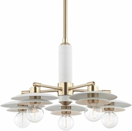 Mitzi H175805-AGB-WH Milla Modern Aged Brass / White Chandelier Light