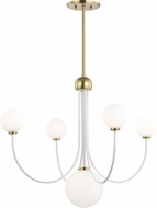 Mitzi H234805-AGB-WH Coco Contemporary Aged Brass / White LED Hanging Chandelier