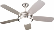 Monte Carlo Fans 5DI44BSD Discus II Contemporary Brushed Steel / Matte Opal 44 Indoor Ceiling Fan