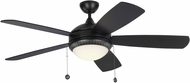 Monte Carlo Fans 5DIO52BKD Discus Ornate Matte Black LED 52  Home Ceiling Fan