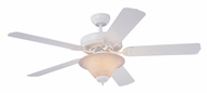 Monte Carlo Fans 5HS52WHD-L Homeowner's Deluxe White 52 Inch Wide Home Ceiling Fan