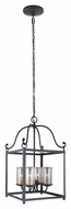Feiss F2907-4AF Declaration Traditional Antique Forged Iron Finish 14.625  Wide Foyer Pendant Lighting