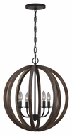 Feiss F2935-4WOW-AF Allier Contemporary Weather Oak Wood / Antique Forged Iron Finish 23.125  Tall Mini Chandelier Light