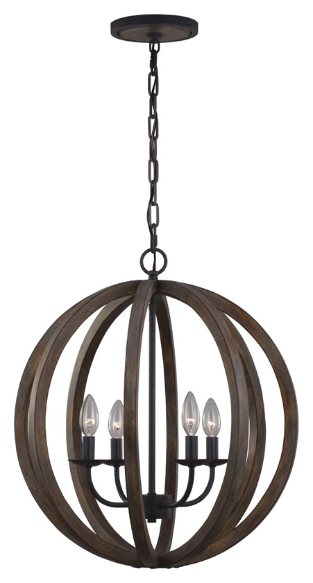 Feiss F2935-4WOW-AF Allier Contemporary Weather Oak Wood / Antique Forged  Iron Finish. Loading zoom - Feiss F2935-4WOW-AF Allier Contemporary Weather Oak Wood / Antique