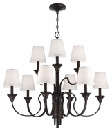Feiss F2943-9AZ-WBR Arbor Creek Arbor Bronze / Weathered Brass Finish 31  Tall Hanging Chandelier
