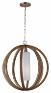 Feiss F2952-1LW-BS Allier Contemporary Light Wood / Brushed Steel Finish 26  Wide Pendant Lighting Fixture
