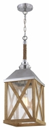 Feiss F2956-1NO Lumiere' Rustic Natural Oak / Brushed Aluminum Finish 26  Tall Foyer Pendant Hanging Light