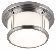 Feiss FM387BS Woodward Brushed Steel Finish 5.375  Tall Flush Mount Ceiling Light Fixture