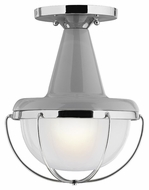 Feiss FM402HGG-PN Livingston Contemporary High Gloss Gray / Polished Nickel Finish 11.5  Tall Flush Mount Ceiling Light Fixture
