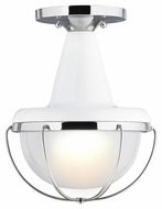 Feiss OL14013HGW-PN Livingston Contemporary High Gloss White / Polished Nickel Finish 11.5 Tall Exterior Ceiling Light Fixture