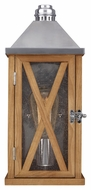 Feiss OL17000NO Lumiere' Country Natural Oak / Brushed Aluminum Finish 15 Tall Exterior Wall Lamp