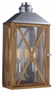 Feiss OL17004NO Lumiere' Country Natural Oak / Brushed Aluminum Finish 19 Tall Exterior Sconce Lighting