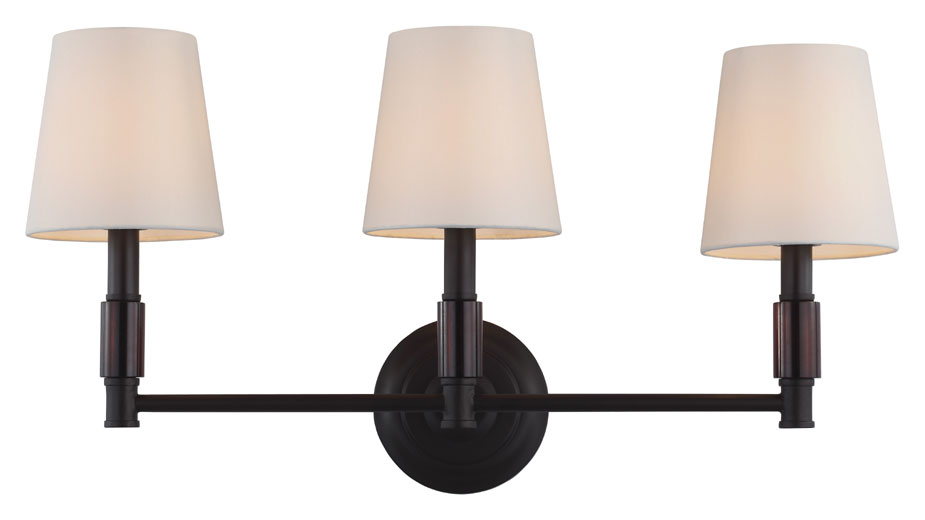 Feiss VS43003 ORB Lismore Oil Rubbed Bronze Finish 12.875u0026nbsp; Tall 3 Light  Bathroom Lighting. Loading Zoom