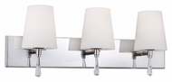 Feiss VS53003-SN Monica Satin Nickel Finish 9.625  Tall 3 Light Lighting For Bathroom