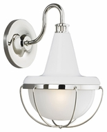 Feiss WB1727HGW-PN Livingston Modern High Gloss White / Polished Nickel Finish 13.375 Tall Wall Sconce