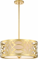 Nuvo 60-5964 Filigree Natural Brass Drum Pendant Lighting Fixture