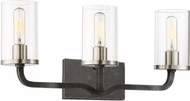 Nuvo 60-6123 Sherwood Contemporary Iron Black with Brushed Nickel Accents 3-Light Lighting For Bathroom