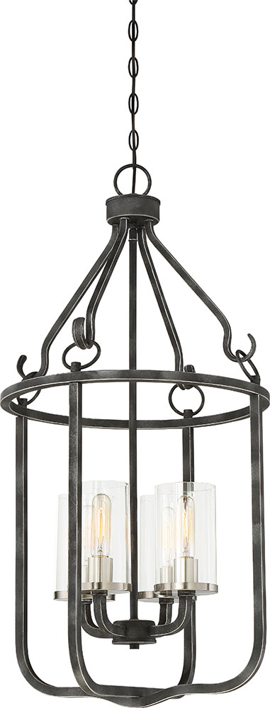 Foyer Lighting Fixtures Brushed Nickel : Nuvo sherwood contemporary iron black with brushed
