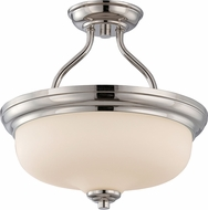 Nuvo 62-384 Kirk Polished Nickel LED Semi-Flush Home Ceiling Lighting