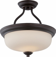 Nuvo 62-394 Kirk Mahogany Bronze LED Semi-Flush Overhead Lighting Fixture