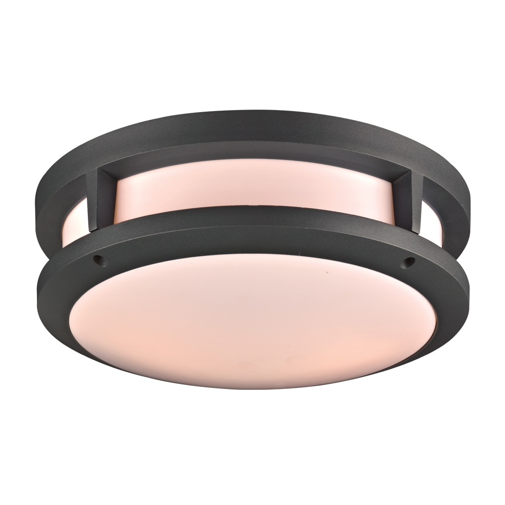 PLC 2729BZ Erich Modern Bronze Exterior Flush Mount Lighting - PLC ...