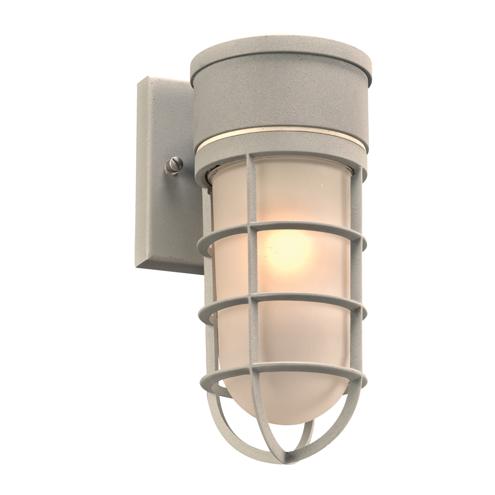 PLC 8050SL Cage Contemporary Silver Exterior Wall Sconce Light - PLC-8050SL