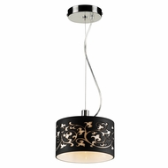 PLC 81821-BLACK Tuxedo Contemporary Polished Chrome Halogen Mini Drum Pendant Lighting
