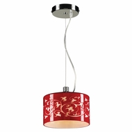 PLC 81821-RED Tuxedo Modern Polished Chrome Halogen Mini Drum Pendant Light
