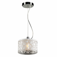 PLC 81821-WHITE Tuxedo Contemporary Polished Chrome Halogen Mini Drum Lighting Pendant