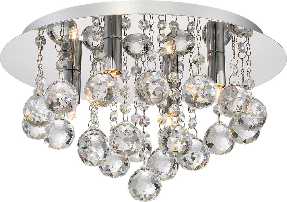 Quoizel BRX1614C Bordeaux With Clear Crystal Polished Chrome Xenon Ceiling  Light Fixture. Loading Zoom