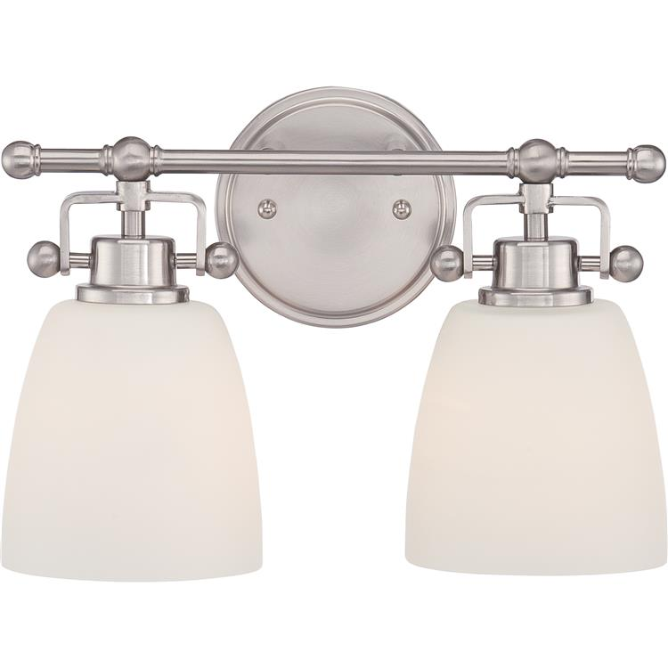 "Bathroom Lighting Fixtures Brushed Nickel quoizel bwr8602bn bower brushed nickel finish 13"" wide 2-light"