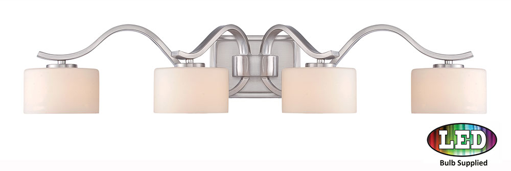 Bathroom Lighting Fixtures Brushed Nickel quoizel dvn8604bnled devlin modern brushed nickel led 4-light bath