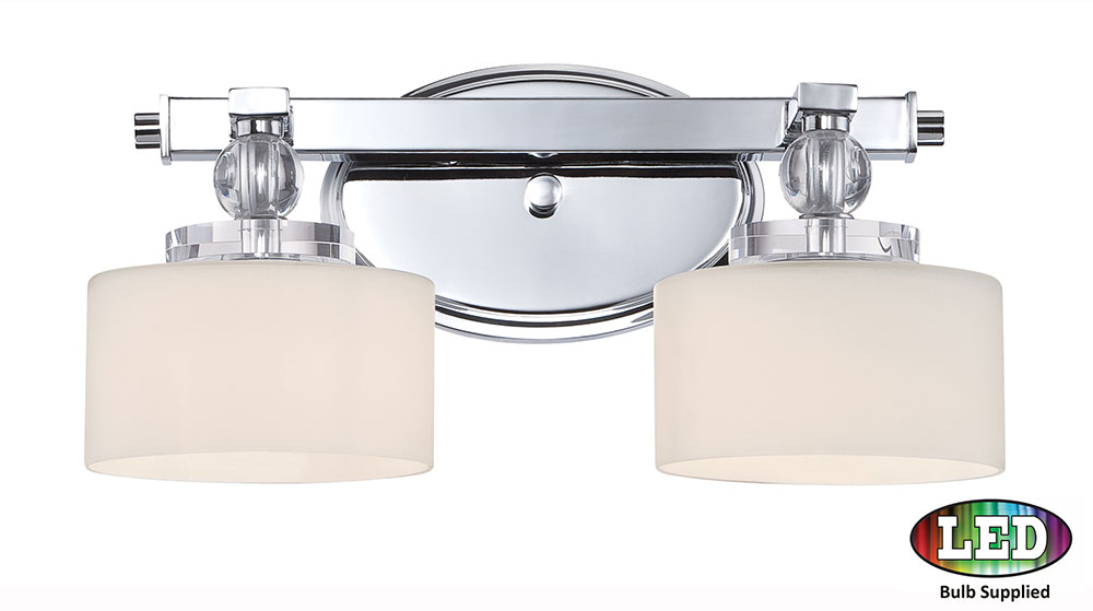 Quoizel DW8602CLED Downtown Polished Chrome LED 2-Light Bathroom Vanity Light - QUO-DW8602CLED