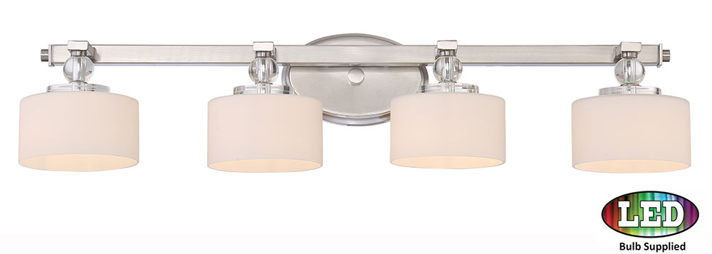 Quoizel dw8604bnled downtown brushed nickel led 4 light bathroom vanity light fixture quo for Brushed nickel bathroom lighting fixtures