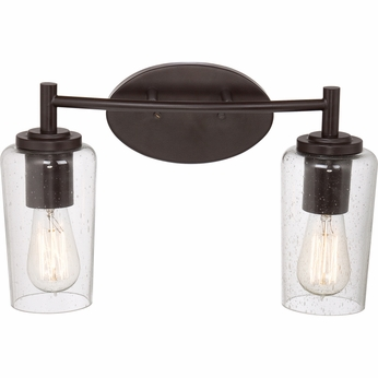 Quoizel EDS8602WT Edison Vintage Western Bronze Finish 16  Wide 2 Light Bathroom Light Fixture