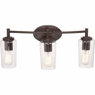 Quoizel EDS8603WT Edison Retro Western Bronze Finish 10  Tall 3 Light Bathroom Vanity Lighting
