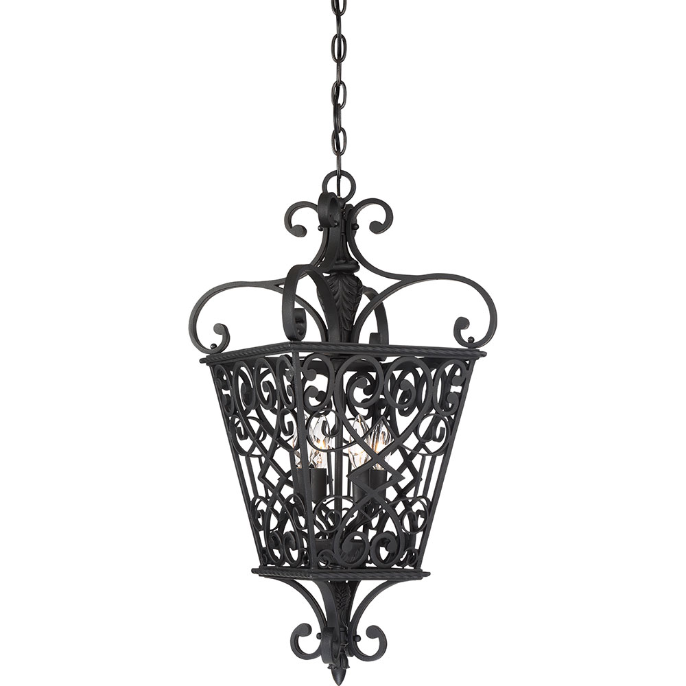 Quoizel Foyer Chandelier : Quoizel fq mk fort quinn marcado black foyer lighting