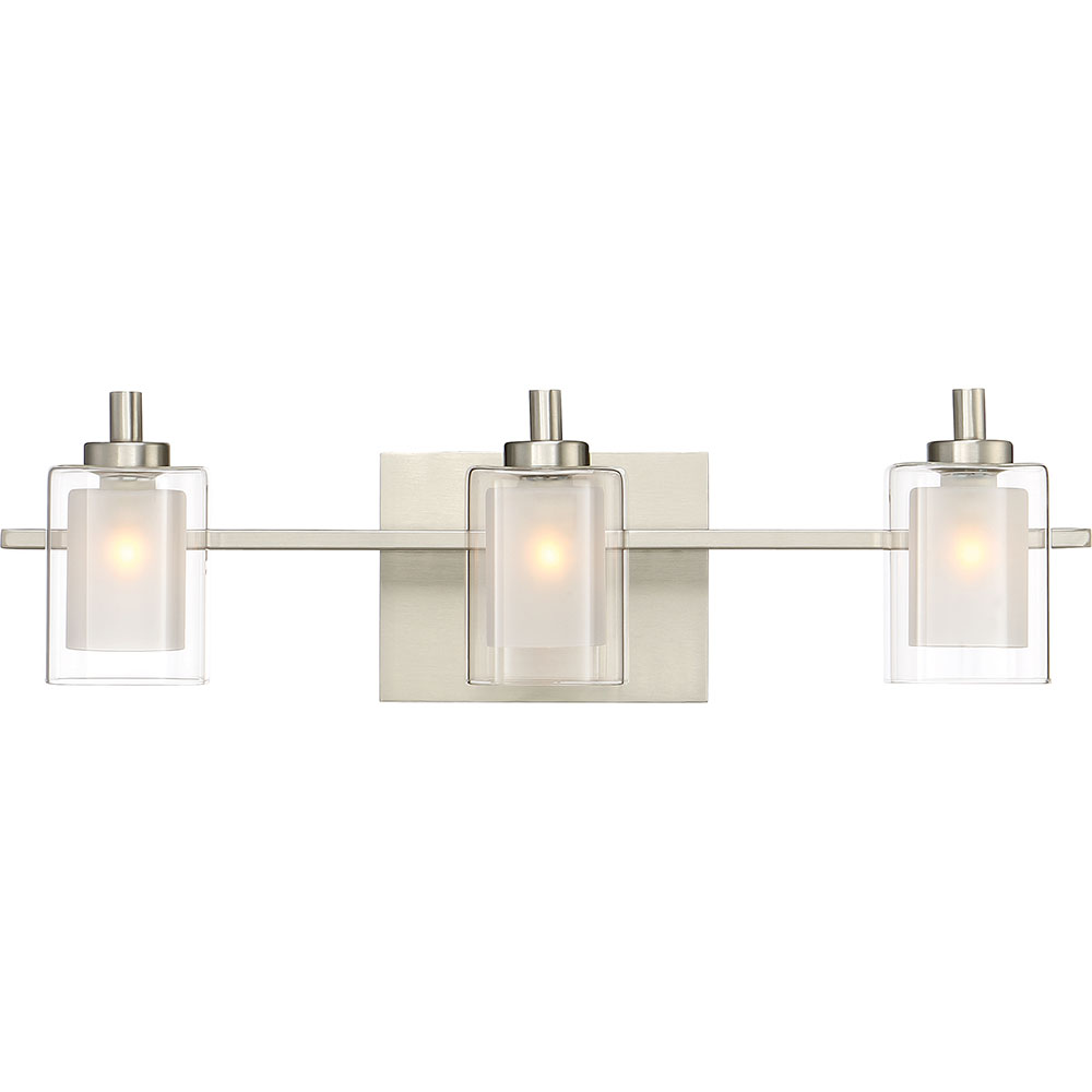 Bathroom Light Fixtures In Brushed Nickel quoizel klt8603bnled kolt modern brushed nickel led 3-light vanity
