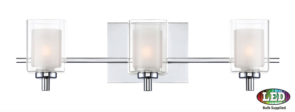 Quoizel Klt8603cled Kolt Contemporary Polished Chrome Led 3 Light Bathroom Lighting Fixture