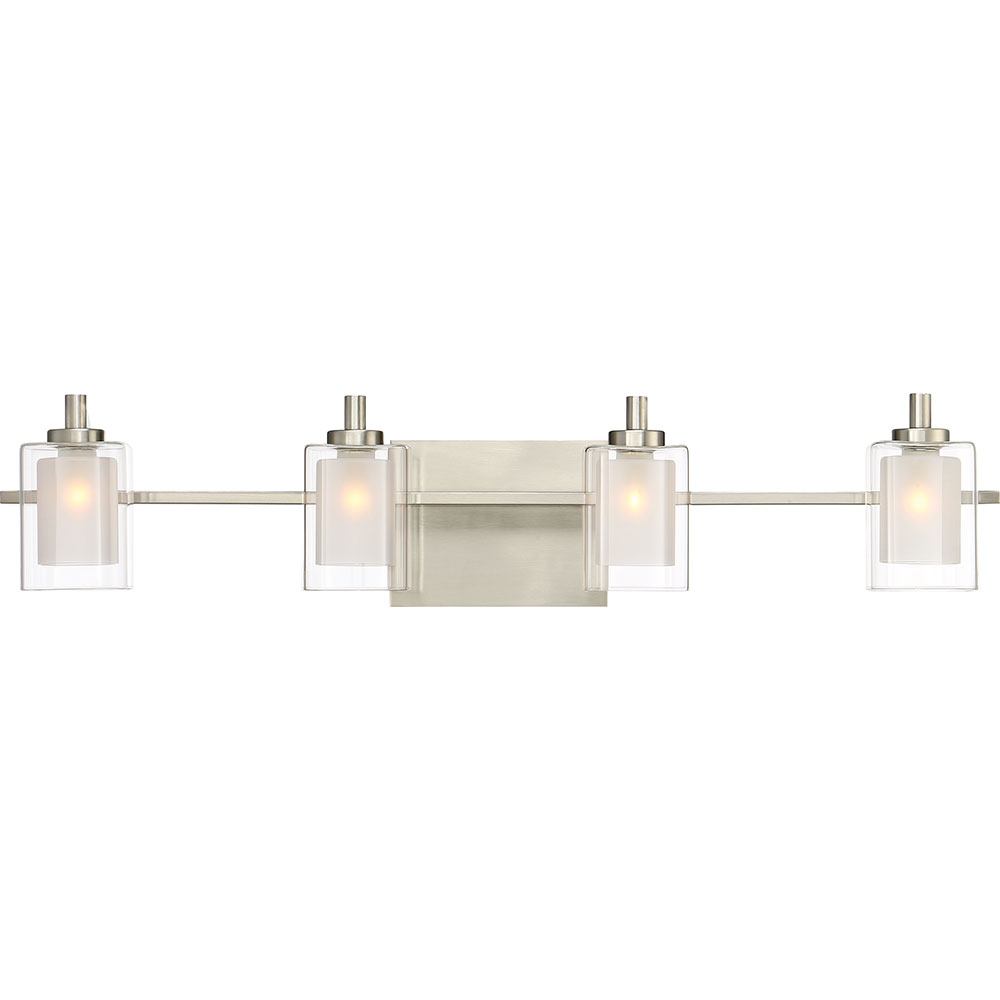 Quoizel klt8604bnled kolt contemporary brushed nickel led for 4 light bathroom fixture